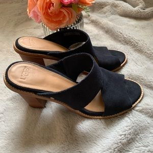 UGG navy blues slip in heeled shoes, size 8.5